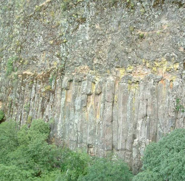 The Eastern Front at Table Mountain.  Most top anchors are in the vertical headwall above the columns.