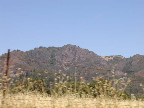 The view of some of Sugarloaf Ridge State Park from a moving car driving back to Santa Rosa.  As mentioned in the intro, it's a deceptive view:  most of the rock in the picture is completely rotten.  There's still some good climbing and bouldering there though!
