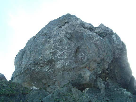 The biggest rock at Twin Coves from the beach isthmus.