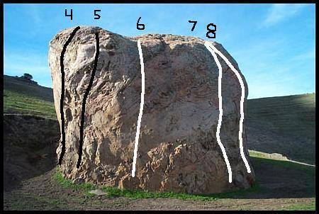 This is the East face of Chlorissa. 4 is The Corner Route.  5 is Waterfall. 6 is The Easy Route.  7 is Left of The Bulge aka 5.10-.  8 is The Bulge aka 5.10+.