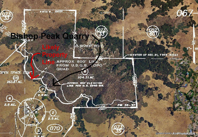 The infamous Bishop Peak Quarry.  The Red arrow shows the most likely location for the property line.  It appears the quarry is nearly to completely on private land.