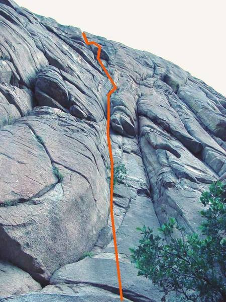 A topo photo of Stoner's Boner.<br> Chimney Rock, Mt. Lemmon, AZ