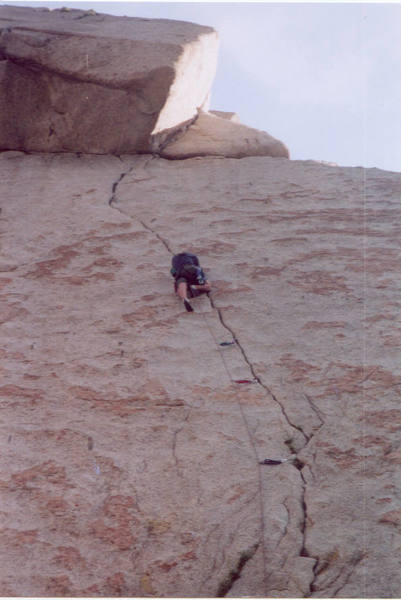 Taken by Trinity, of dad working through the crux.
