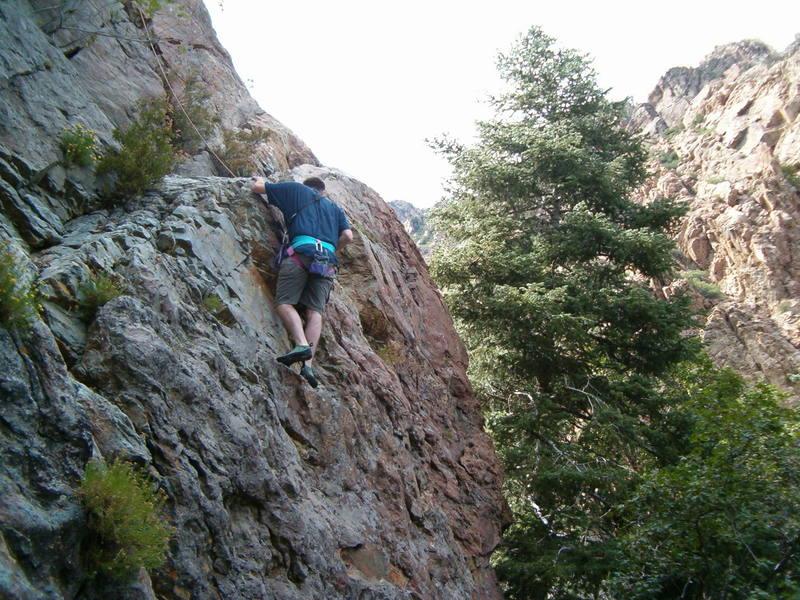 1st climb ever.  Ascent=15 min.  Descent=45 min.  Harness=priceless.