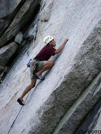moveing past the crux.  Still a ways to the next bolt.