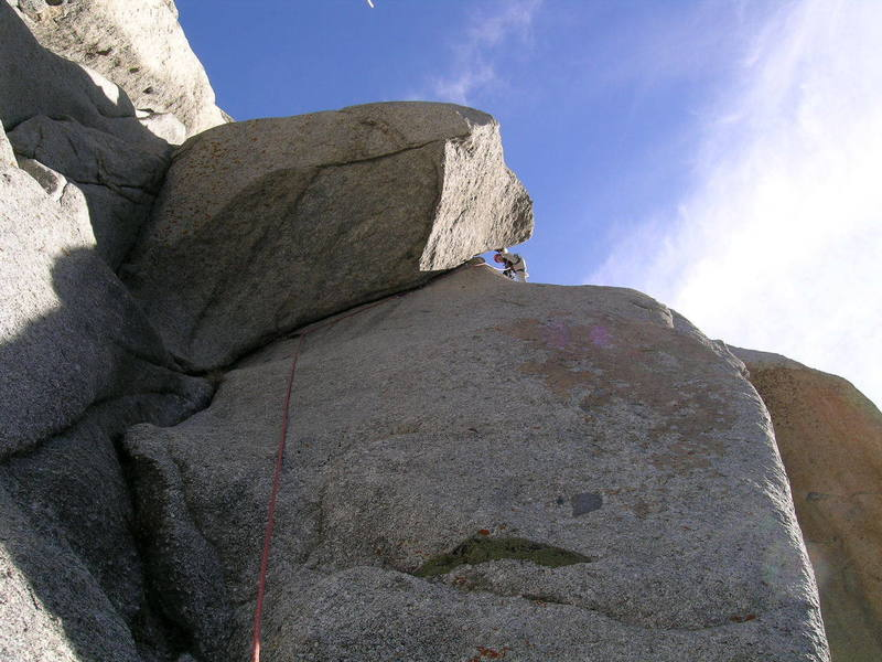 David just after he got to a place where he could rest. The whole crack is 5.8+ with very little rest.