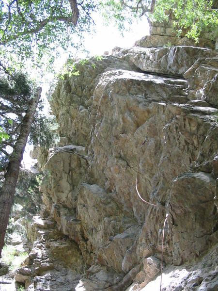 Overhanging south face of the Slips.  Rope is on Witchhunt (5.10a)
