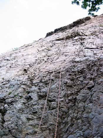 This is looking directly up the climb showing a strenuous little crux midway up and the overhang at the top.