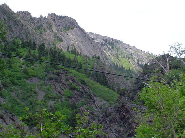 View from the road, the face without all the trees.