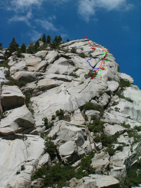 """Tingey's Torture Red is preferred route, Green is variations and blue is funky ass squeeze chimney that we got off route on.  """"O"""" is natural anchors"""