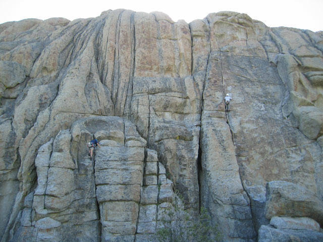 Climber on the right is on Adolescent Humanoid, on the left is Double Cracks