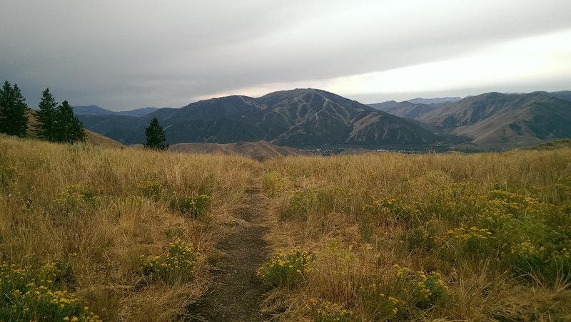 View of Ketchum and Sun Valley ski area from the saddle