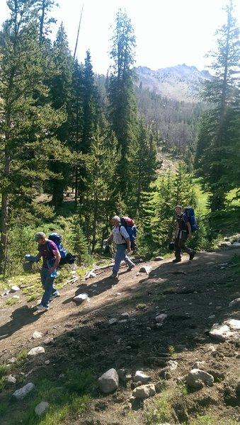 Backpackers descending from Washington Lake