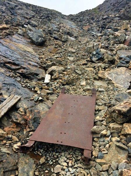 An old miner's sled.  Imagine hauling rocks up and down this alpine scree field at 12,000'!