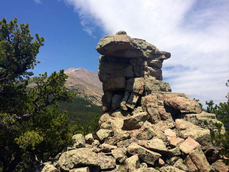 "The ""lookout"" with Longs Peak in the background"