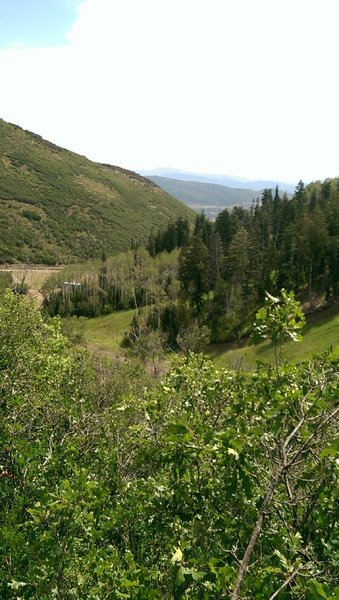 Looking down-valley towards Jordanelle Reservoir