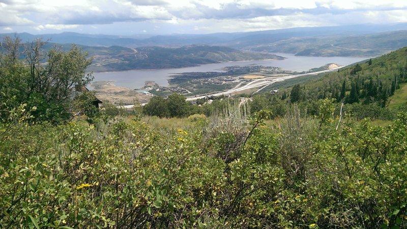 Jordanelle Reservoir spread out in the distance