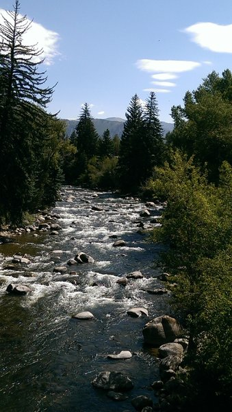 View of the Eagle River from the busy round-about near Eagle-Vail