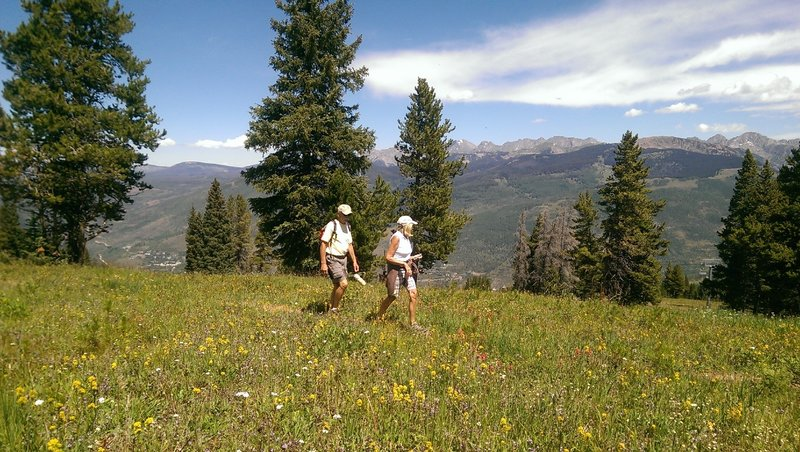 Hikers enjoying a mid-summer hike on the Grand Escape trail
