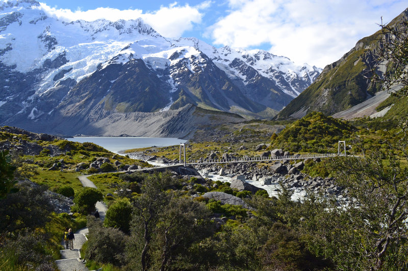 First of three swinging footbridges along the Hooker Valley Track.
