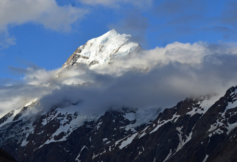 Mount Cook rising up out of the Hooker Valley.