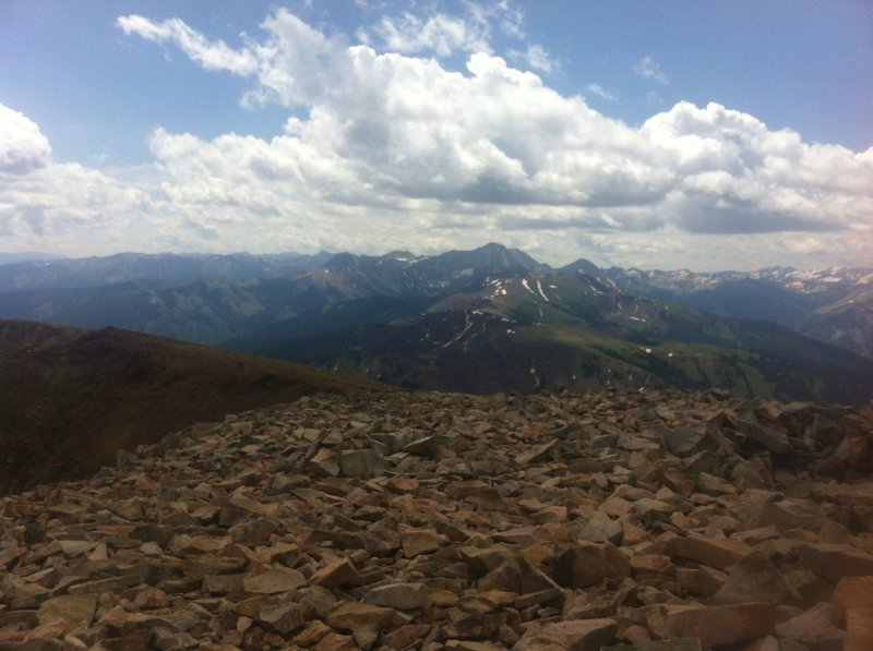View of the Elk Mountains from the summit of Mount Sopris.