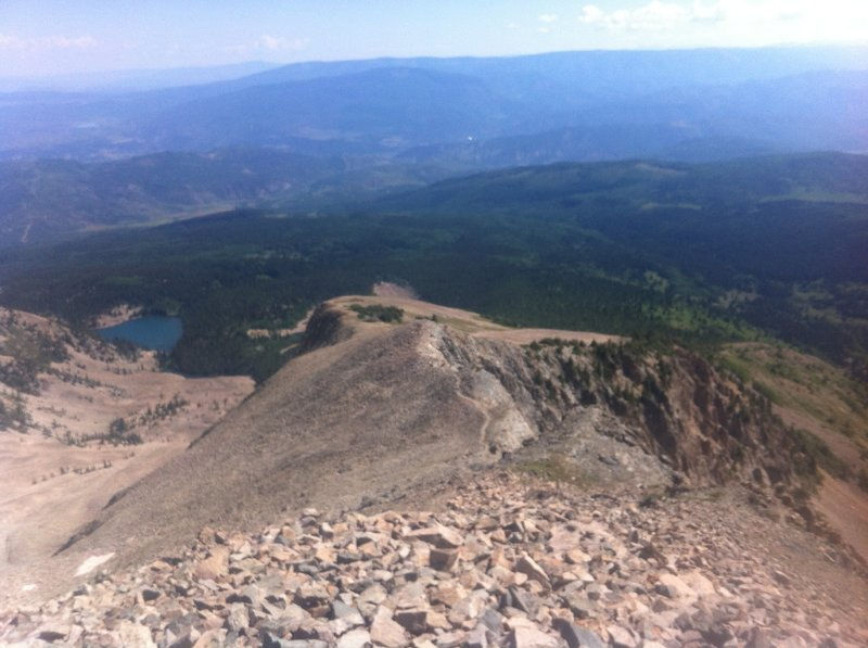 Looking down the talus field to the Roaring Fork Valley on the Mount Sopris Trail.