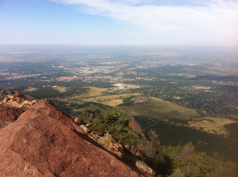 Looking down on Boulder from the summit of Bear Peak