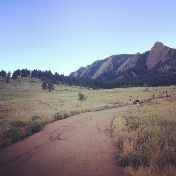 The Flatirons as seen from Chatauqua Trail.