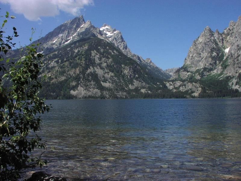 View of Cathedral Group and Cascade Canyon from Jenny Lake.<br> <br> Image by the National Park Service (NPS).