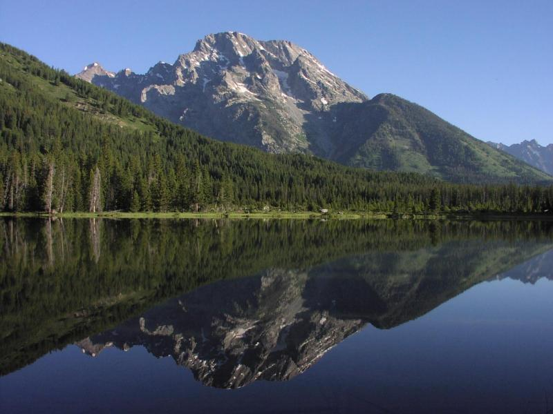 String Lake with Mount Moran reflection.