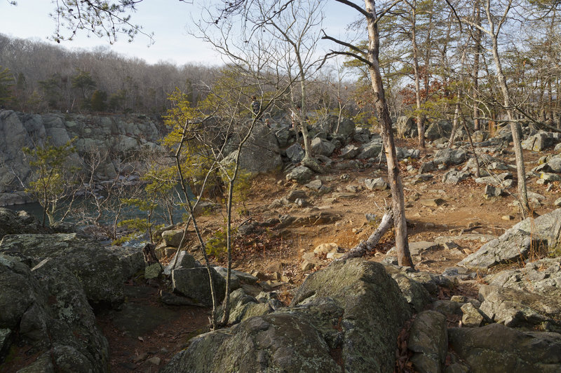 The rocky, cliff-top nature of River Trail.