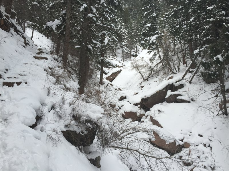 Royal Arch Trail can be an icy, slippery, awesome adventure after a decent snowstorm.