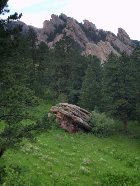 A boulder in a green meadow below Dinosaur Mtn with permission from BoulderTraveler