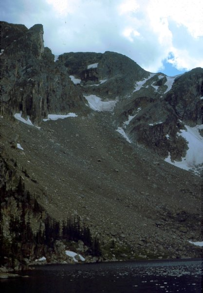 Ptarmigan Mtn over Lake Nanita (1980) with permission from BoulderTraveler