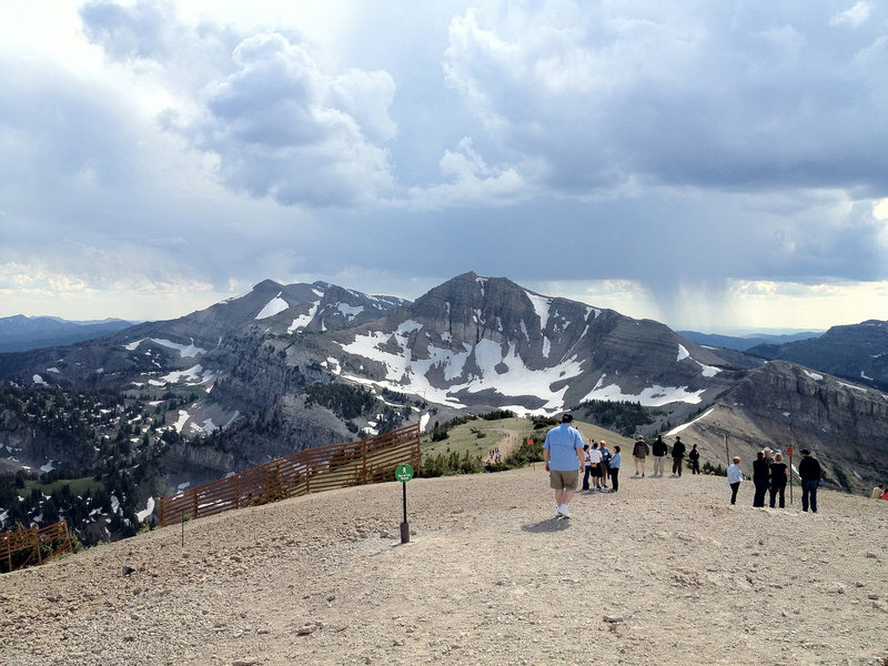 On a nice summer day Rendezvous Mountain will see many trail users.