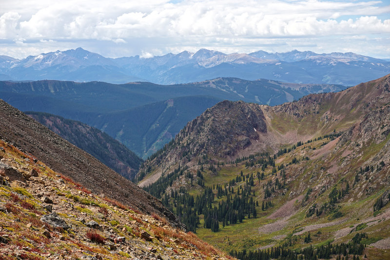 Looking west from Bighorn Pass towards Mount of the Holy Cross.