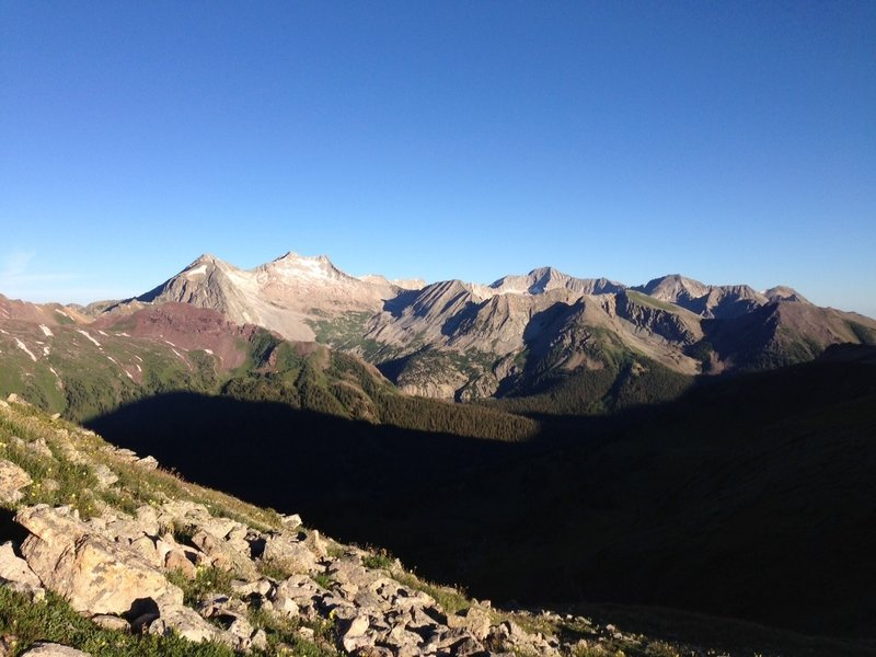 Top of Buckskin looking west to Snowmass Mountain and Trail Rider Pass