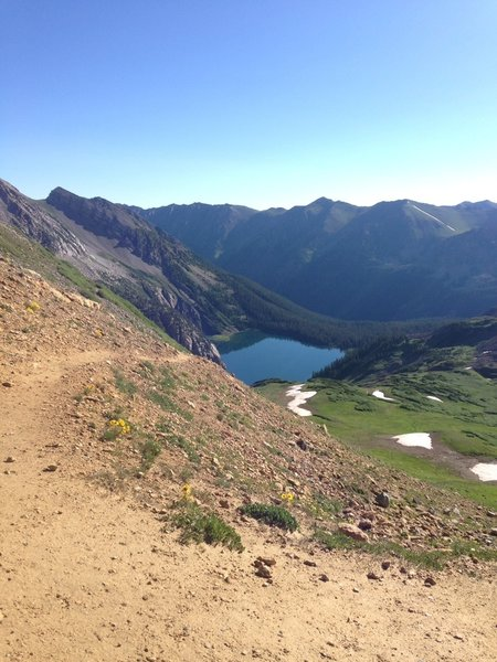 Trail Rider Pass Summit, looking back on Snowmass Lake