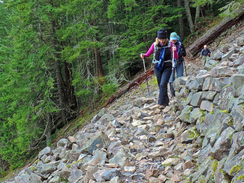 On rocky section of Mt. Si Trail