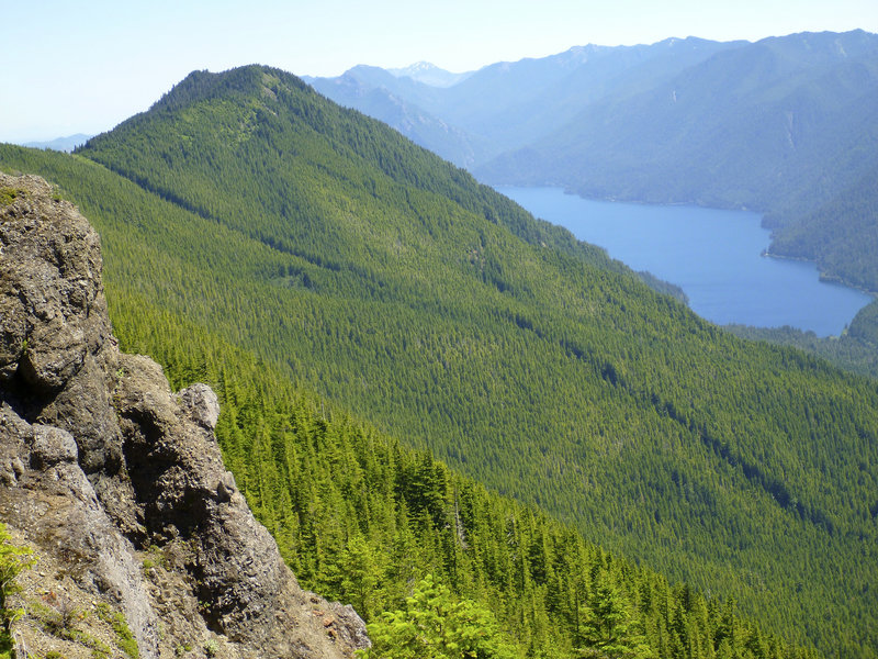 Looking down to Crescent Lake from Mt. Muller.