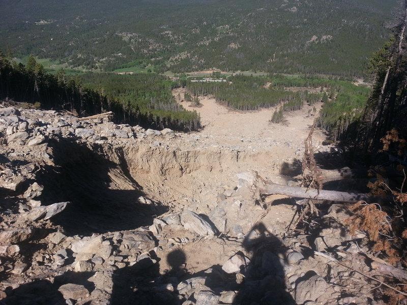Rock slide along Twin Sisters trail