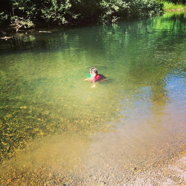 Taking a break from hiking the Cross Marin trail- swimming in Lagunitas Creek