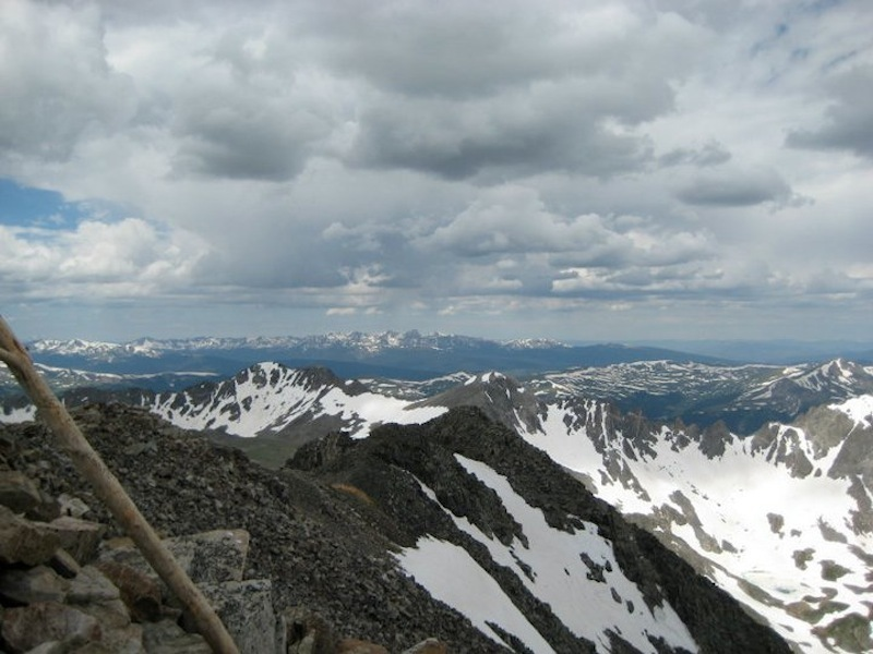 A view from the summit of Quandary Peak, taken in mid-July after a snowy winter.