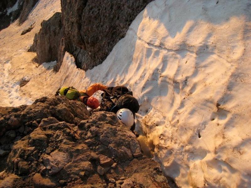Class 3 move. Snowy scrambling just below the summit of Broken Hand Pass, July 2011.