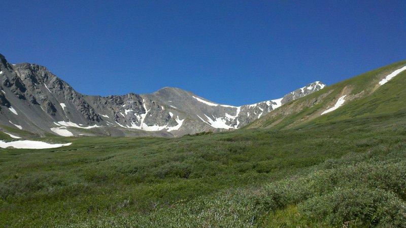 Grays Peak left and Torreys Peak right