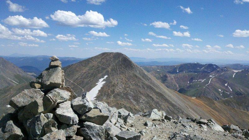 Grays Peak summit looking at Torreys Peak
