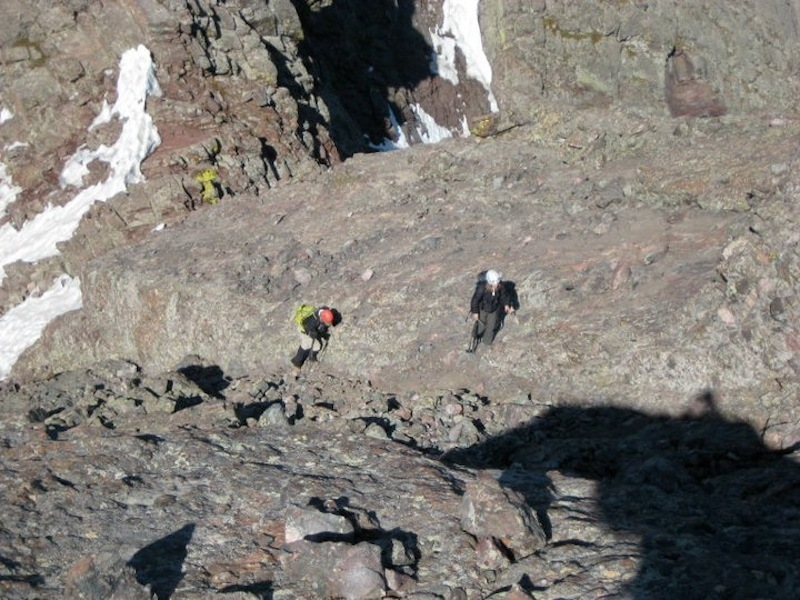 Approaching the notch at the top of the Red Gully.