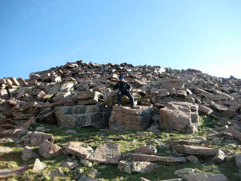 At the windy false summit at 13,800.