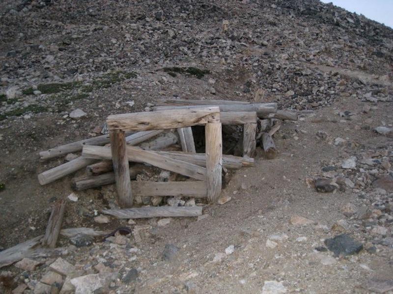 Abandoned mine shaft just below the Democrat-Cameron Saddle.